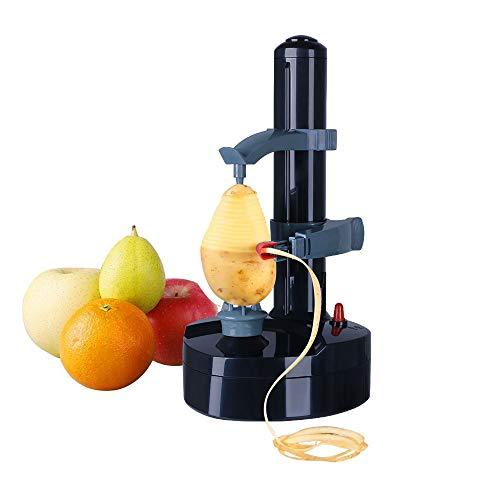 Vicloon Pelador Eléctrico,Pelador Multifunción con Cuchilla de Acero Inoxidable,Pelador de Patatas Máquina Automática para Fruta y Verdura,Negro - (Adaptador Incluido)