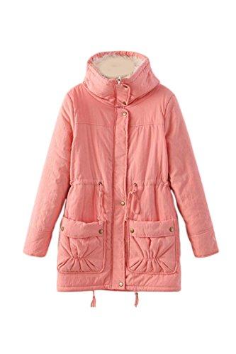 Le Donne Si Mina Spesso Hoodied Cappotto Gli Outwear Anroaks Con Le Tasche Pink2
