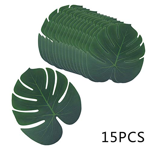 YIDAINLINE 3 Größen Echt aussehende künstliche Pflanze Tropische Blätter Monstera Palmblätter Dekorationen Luau Safari Party Supplies Jungle Beach Geburtstagsthema (Echt Aussehende Aquarium Pflanze)