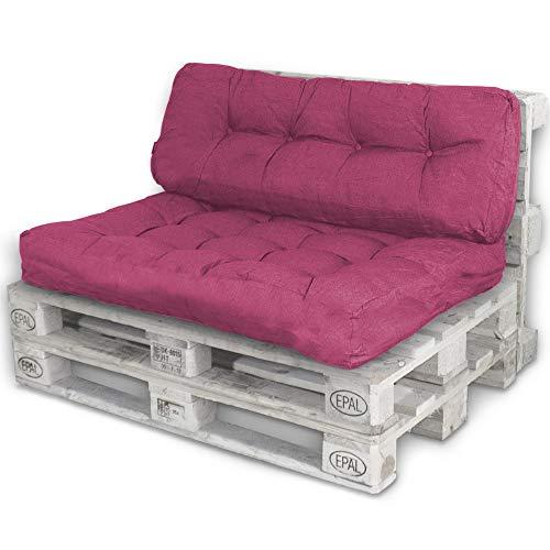 Bobo Palettenkissen Palettenauflagen Sitzkissen Rückenlehne Kissen Palette Polster Sofa Couch (Set Sitzfläche + Rückenteil, Pink)