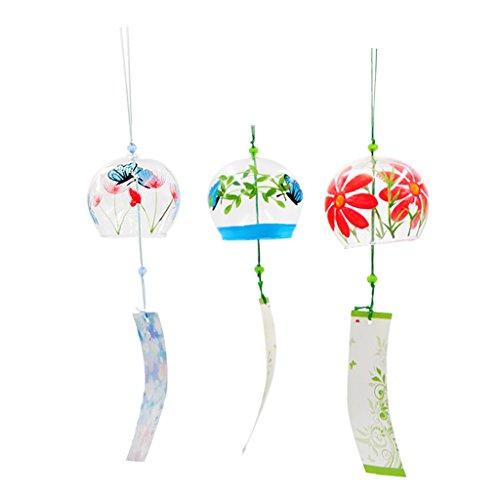 Sharplace 3 Stücke Japanischen Stil Glas Windspiel Wind Glocke Haus Fenster Hängende Dekor