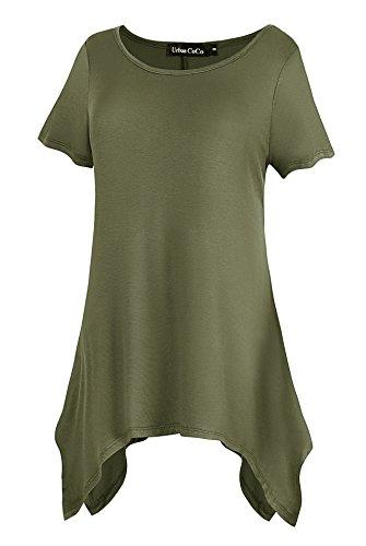 Urban Goco Chemisier Décontracté de Femmes Lâché Tee-Shirt Manche Courte Confortable Tops Tunique Armée Vert