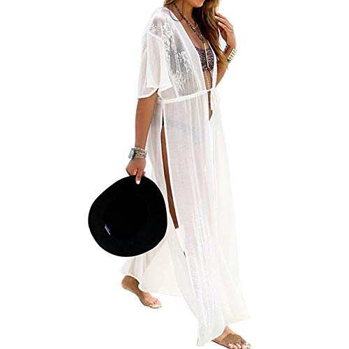LULENQ Damen-Badeanzug mit Spitze, Lange Cardigan und Strandkleidung, sexy, lockere Bademode, Bikini, Spitze, florales langes Maxi-Kleid, Übergröße - weiß - Einheitsgröße (Halloween Mantel Zeigt)