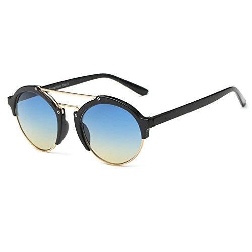 QHGstore Unisex Halbbild Horn umrandeten im Freien Spielraum Sportbrillen PC Rahmen der klassischen Frauen Mann Sonnenbrille Schwarz + Blau + Gelb