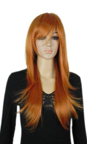 Qiyun Longue Moyen Raide Orange Brun Cosplay Synthetique Cheveux Complete Perruque