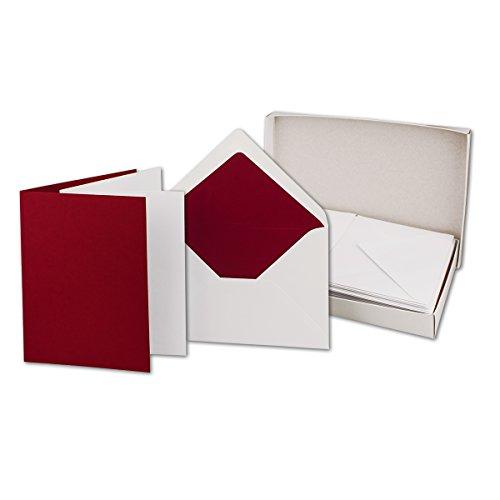 25 Faltkarten-Sets - Dunkelrot - 12 x 17 cm - DIN B6 Klapp-Karten mit Briefumschläge Dunkelrot gefüttert - inklusive Einleger - in Stabiler Karton-Box
