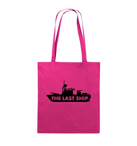 Comedy Bags - THE LAST SHIP - Jutebeutel - lange Henkel - 38x42cm - Farbe: Schwarz / Silber Pink / Schwarz