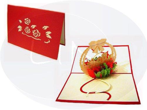 Geburtstagskarte, Motiv: Korb von Blumen, Farbe: rot ()