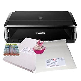 Essbares Drucker-Set - basierend auf einem Canon IP7250 A4 Drucker mit vorbefüllten essbaren Tintenpatronen, 24 Zuckergussblättern und 25 Blatt Waffelpapier