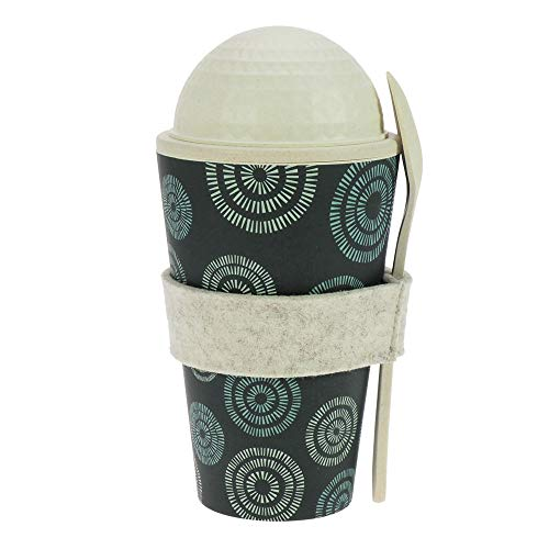 ebos Müsli-to-Go Becher aus Bambus | Müslibecher, Müslischale, Joghurtbecher | wiederverwendbar, umweltfreundlich, spülmaschinengeeignet, Verschiedene Designs (Circle of Life Aqua)