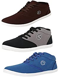 Globalite Men`s Casual Combo (3 Canavs Shoe; Model- Crux ; Color(Black Grey, Royal Blue and Brown) Target: Men, Type:Sneaker, Code:GSC0461_307_305