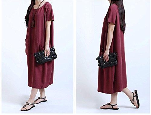 Minetom Femme Été Encolure Ronde Manche Courte Baggy avec Poches Robe de lin de Coton Rouge