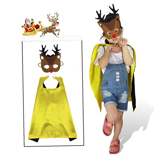 Beito Jungen-Mädchen-Kinderweihnachtsschablone Und Fancy Umhang Set DIY Verkleiden Weihnachtsmann-Kostüm Für Unisex (Diy Mädchen Halloween-kostüme)