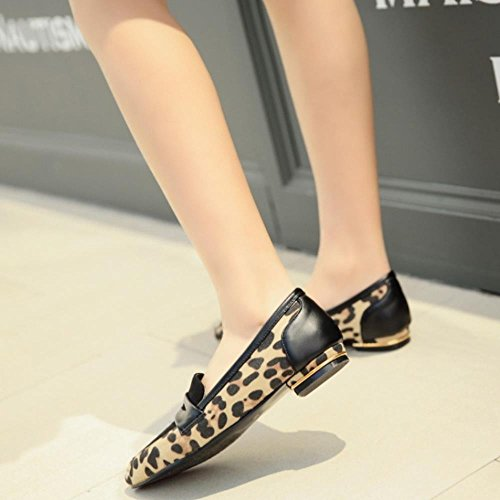COOLCEPT Mode Femmes Talon bas Ballerines Escarpins A Enfiler Party Chaussures Extra Sizes Yellow Leobard