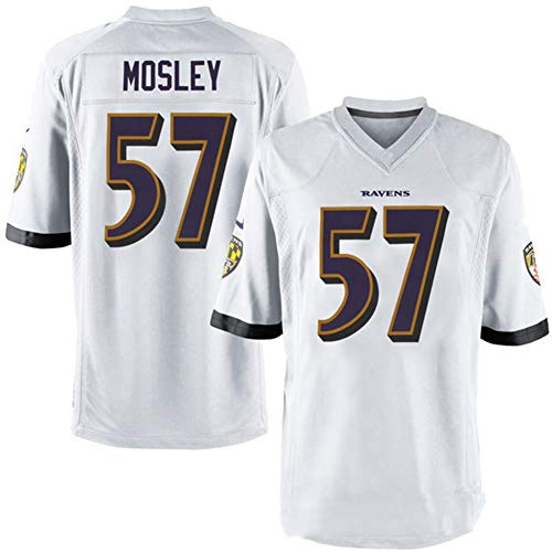 Majestic Athletic NFL Football Baltimore Ravens 57# Mosley T-Shirt Jersey Bequem und Atmungsaktiv Trikot,White,XL