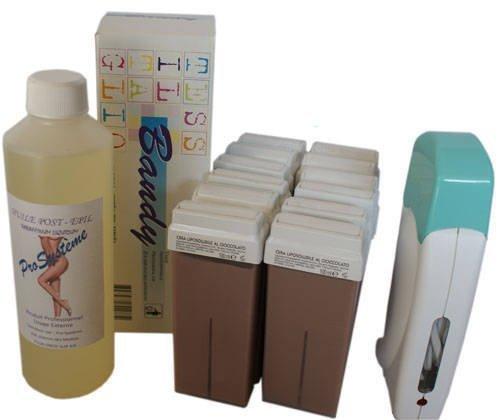 EPILWAX S.A.S - Kit D'Epilazione Assolo Completo A La Cera Usa e getta Agli Cioccolato, con Rotella Grande Modello per i gambe, ascelle, e il corpo