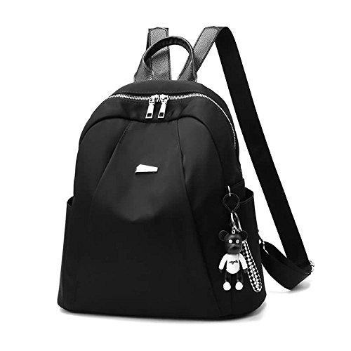 FLHT Frauen-Segeltuch-Rucksack-Rucksack-Oxford-Art- Und Weiserucksack-Kursteilnehmer-Beutel-Kurier-Beutel-Reise-Beutel-Freizeit-Einkaufstasche,Black-S