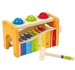 2in1! Hämmern und Musizieren! Nach dem Hämmern rollen die Kugeln über das Xylophon und erzeugen tolle Klänge. Zum musizieren kann das Xylophon auch herausgenommen werden.