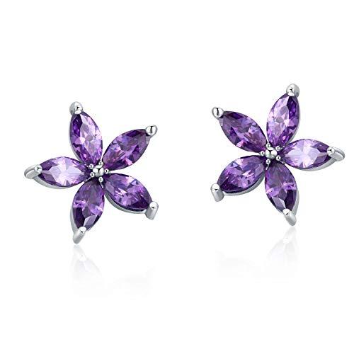 Blumen Ohrstecker Silber 925 Damen 10mm Ohrringe Mädchen Ohrringe Kinder (Ohrringe Lila Blume)