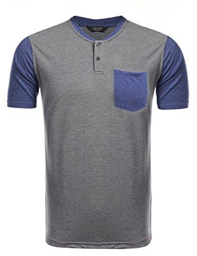 Coofandy t-shirt uomo blu navy manica corta con il tasto di stile patchwork xxl