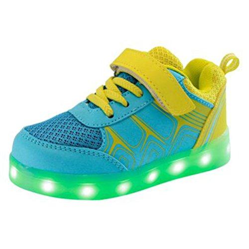 [Present:kleines Handtuch]JUNGLEST® Kinder Jungen Mädchen LED Light Sneakers Fluorescence Spo Gelb