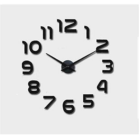 GYN Moda minimalista 3D acrilico specchio DIY Orologio minimalista Sticker Orologio artistico soggiorno camera da letto TV sfondo decorazione , black - Primo Anno Sticker Calendario