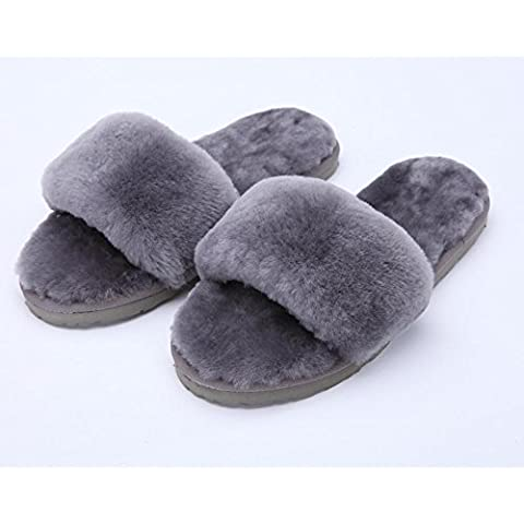 TDXIE Pantofole di pelle di pecora lana uno piani casa pantofole inverno lana peluche casa Scarpe donna 2 3 4 5 6 7 8 9 10 11 12 13 14 35 36 37 38 39 , gray , 36