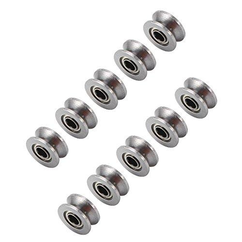 10 Stücke U624ZZ U Nut Kugellager Führungsrolle Für Schienenstrang Linear Motion System 4 × 13 × 7mm