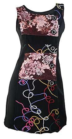 #1148 Damen Kleid Patchwork Etuikleid Abendkleid Tunika Winter Kleid Grün Braun Beige 34 36 38 40 42 (38, Beige)