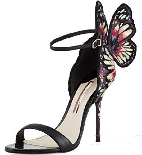 HYLM exquisite Damen Sandalen High-End-Premium-Klasse Schmetterling Flügel High Heels Brautkleid Schuhe Party Schuhe , 37 , black (Kleinkind Schmetterlings Flügeln)