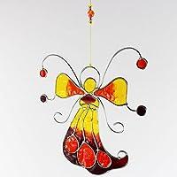 Fensterdeko Engel, Fee aus Resin gelb, orange | Fenster Deko zum Aufhängen | Regenbogenkristall | Sonnenfänger | Engel Deko Sommer | Deko Engel | Fensterschmuck Sommer