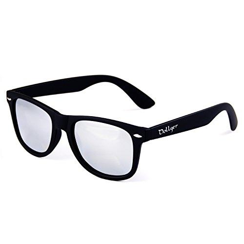 Dollger Klassische polarisierte Wayfarer Sonnenbrille Horn umrandeten Rahmen Spiegel Objektiv(Silber+Matt-Schwarz)