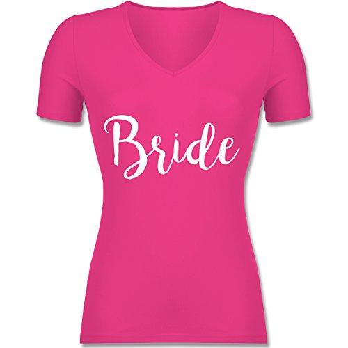Shirtracer JGA Junggesellinnenabschied - Bride Lettering - Tailliertes T-Shirt mit V-Ausschnitt für Frauen Fuchsia