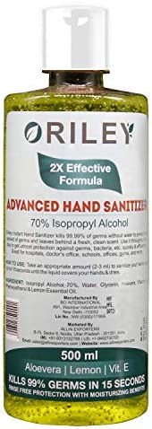 Oriley Waterless Hand Sanitizer 70% Isopropyl Alcohol Based Instant Germ Protection Sanitizing Gel Rinse-free