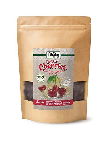 Biojoy getrocknete BIO-Sauerkirschen | 100% Natur, ungezuckert & ungeschwefelt | ganze Kirsche, schonend getrocknet & entsteint | Premium-Bio-Qualität | Prunus cerasus (0,5 kg)