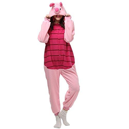 VU Roul Erwachsene Einteiler S FROZEN Soft Plüsch Kostüm Schlafanzug Gr. Small, Piglet Pig