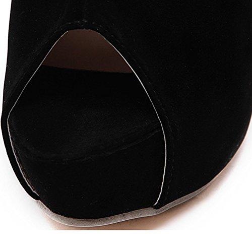 Oasap Femme Chaussure A Talons Hauts Tige Haute Talons Aiguilles Bout Ouvert A Lacet Noir