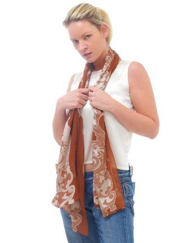 Longue écharpe en soie pure cannelle / argent