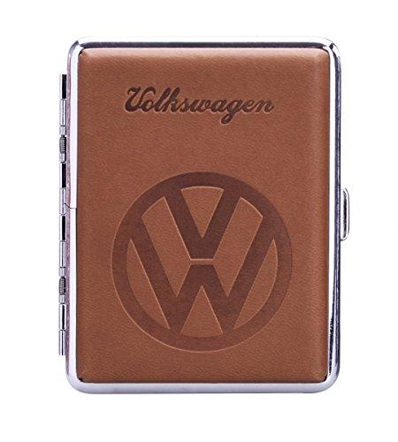 VW ZIGARETTENETUI Leder BRAUN Volkswagen Zigaretten Etui Zigarettenbox Case 37