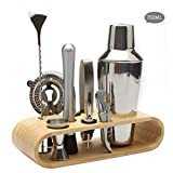 10 pièces Cocktail Set Bar Kit Bar Tool Set Base en Bois Ovale Shaker Cocktails...