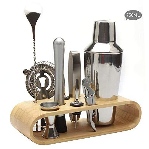 10pezzi di shaker set da cocktail in acciaio inox set di attrezzi di legno ovale mensola di archiviazione ben progettato, opzione per regali 750ml 1