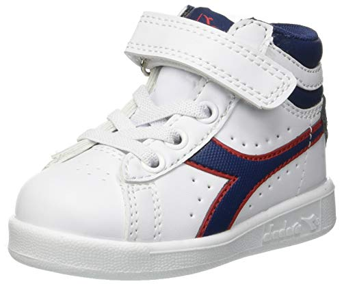 Diadora game p high td, scarpe da ginnastica unisex – bambini, multicolore (white/estate blue/tomato c7628), 22.5 eu