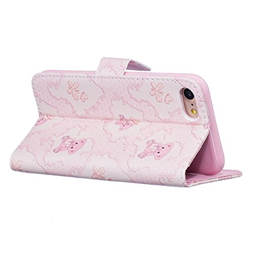 Cuir Coque pour iPhone 7,Portefeuille PU Cuir Etui Coque pour iPhone 7,Fleur Etui Coque pour iPhone 7,Fille Coque pour iPhone 7,EMAXELERS iPhone 7 Leather Case Wallet Flip Protective Cover Housse,iPho G Butterfly 5