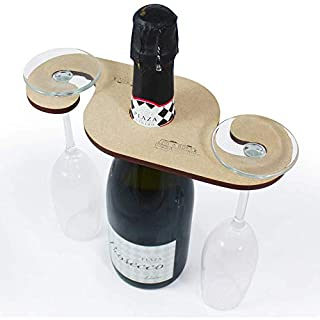 Azeeda 'Canal Boat' Wooden Wine Glass / Bottle Holder (GH00042563)