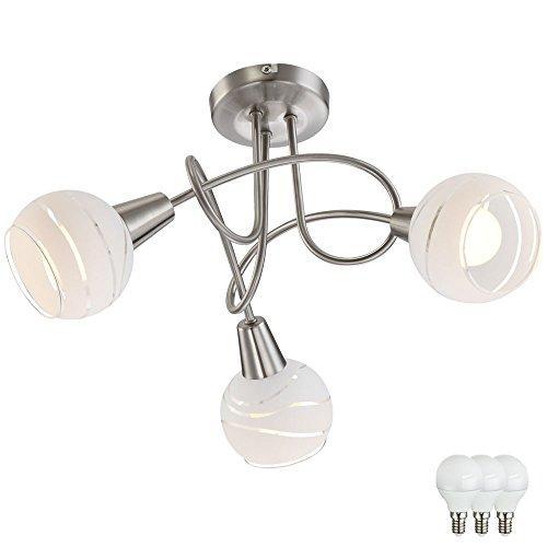 Luxus Decken Leuchte Esszimmer Rondell Lampe Küchen Strahler silber im Set inkl. LED Leuchtmittel