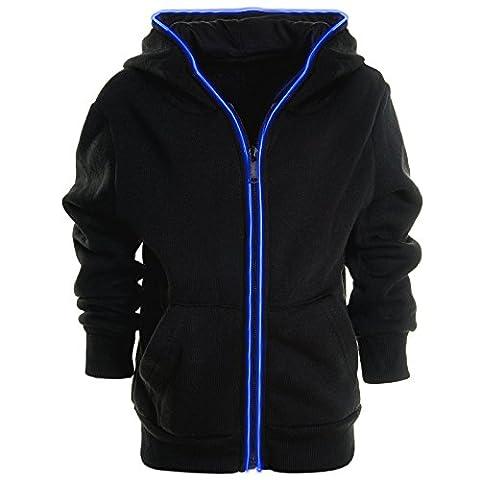 Kinder Pullover Kapuzenpullover LED Hoodie Sweatshirt Kapuzen Sweatjacke 20912, Farbe:Schwarz Blau;Größe:164