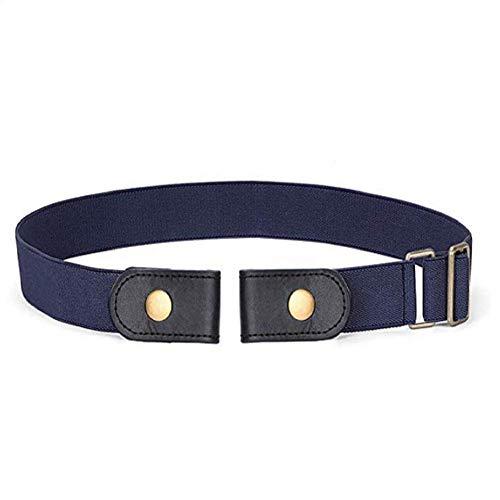DAIFA Cinturón elástico unisex sin hebilla con barra de metal deslizante ajustable, cinturones de cintura elástica multifunción para mujeres y hombres Azul azul vaquero M