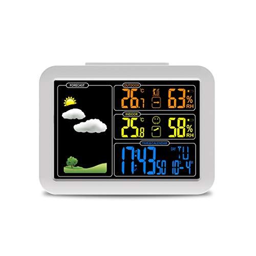 TangMengYun Farbdisplay Wetteruhr Thermometer und Hygrometer Startseite Wetterüberwachung Uhren Wetterstationen (Color : White, Größe : 13.5cm)