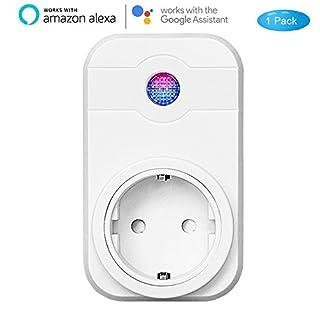 Wlan smart Steckdose COOSA Intelligente Plug Alexa Wifi Steckdose funktioniert mit Amazon Alexa und Google Home, Smartphone App Steuerung von IOS und Android mit Timing Funktion für Haus und Büro Fernbedienen Ihre Geräte zu jeder Zeit (1Pack)