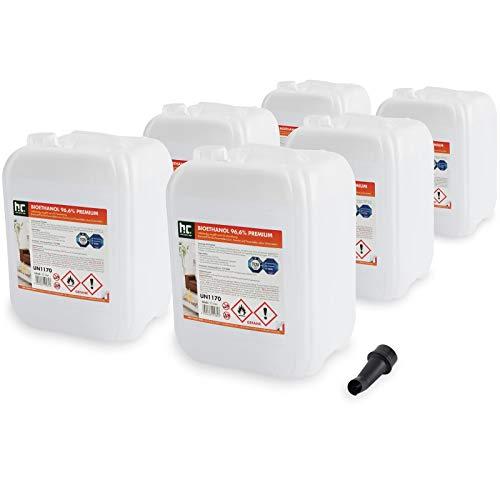 Höfer Chemie 6 x 10 L Bioethanol 96,6{431b8e2cb23a3c7e4643147342697cce1a52226166b2b068db0bd5afe3200cd5} Premium - TÜV SÜD zertifizierte QUALITÄT - für Ethanol Kamin, Ethanol Feuerstelle, Ethanol Tischfeuer und Bioethanol Kamin